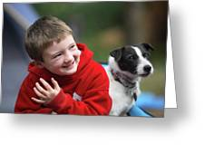 Boy, Age 6, Smiling With Jack Russell Greeting Card