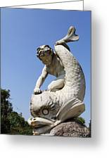 Boy And Dolphin Sculpture By Alexander Munro In Hyde Park London England Greeting Card