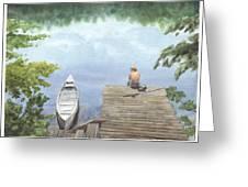 Boy At A Lake Watercolor Portrait Greeting Card