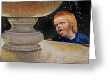 Boy At Fountain Of Youth Greeting Card