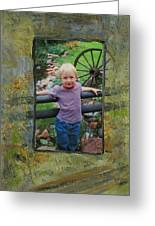 Boy By Fence Greeting Card