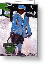 Boy Carrying Coal Circa 1901 Greeting Card