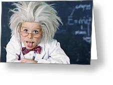 Boy Dressed As Einstein Greeting Card
