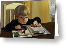 Boy In A Black Sweater Detail Greeting Card
