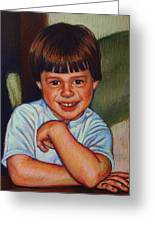 Boy In Blue Shirt Greeting Card