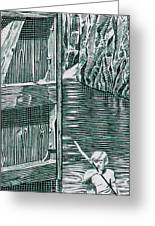 Boy In Canoo In Canal Greeting Card