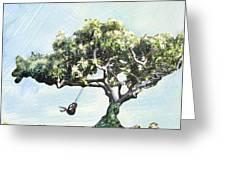 Boy On A Swing Greeting Card