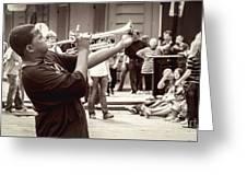 Boy On A Trumpet In Nola Greeting Card