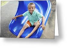 Boy On Slide Greeting Card
