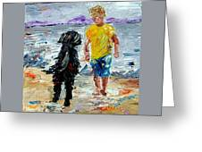 Boy Playing With The Dog Greeting Card