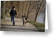 Boy Running With Dog Greeting Card