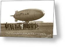 Boy Scouts And Goodyear Blimp Guarding Graf Zeppelin Los Angeles Airport Aug. 26 1929 Greeting Card