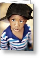 Boy Wearing Over Sized Hat Sideways Greeting Card by Ron Nickel