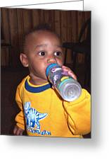 Boy With Bottle Greeting Card