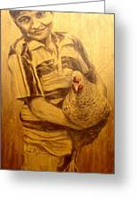Boy With Chicken Greeting Card