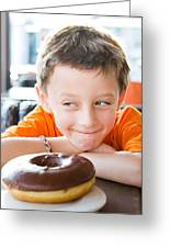 Boy With Donut Greeting Card