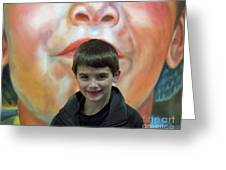Boy With His Portrait Greeting Card