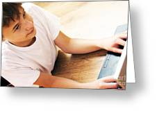 Boy With Notebook Greeting Card