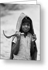 Boy With Sickle  Greeting Card
