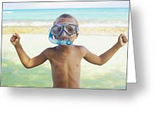 Boy With Snorkel Greeting Card