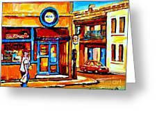 Boy With Steinbergs Bag Near Waldmans Market Paintings Colonial St Vintage Montreal Art C Spandau Greeting Card