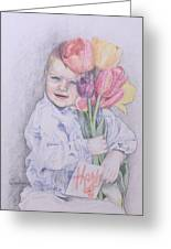 Boy With Tulips Greeting Card by Kathy Weidner