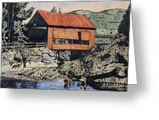 Boys And Covered Bridge Greeting Card