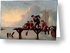 Boys Crabbing Greeting Card