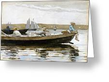 Boys In A Dory Greeting Card