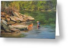 Boys Playing In The Creek Greeting Card