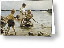 Boys Playing On The Shore Greeting Card