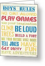 Boys Rules Greeting Card