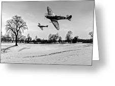 Low-flying Spitfires Black And White Version Greeting Card