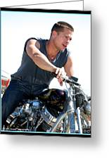 Brad Pitt On His Harley Greeting Card by Kip Krause
