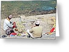 Brahmans Along Bagmati River In Pasupatinath Temple Of Cremation Complex In Kathmandu-nepal  Greeting Card
