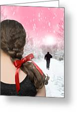 Braided Hair With Red Ribbon Greeting Card