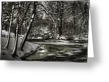 Brainards Bridge After A Snow Storm 4 Greeting Card
