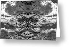 Branches And Clouds Mirrored Greeting Card