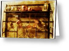 Brass Bench With Polished Copper And Brass Colllection Greeting Card