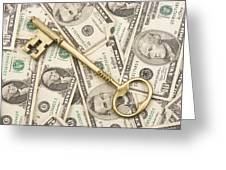 Brass Key To Success Money Greeting Card
