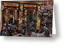 Brasserie Bofinger In The Rue De La Bastille, Paris, 1999 Oil On Canvas Greeting Card