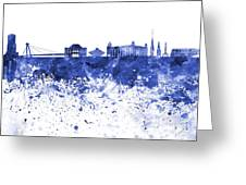 Bratislava Skyline In Blue Watercolor On White Background Greeting Card