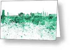 Bratislava Skyline In Gree Watercolor On White Background Greeting Card