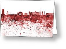 Bratislava Skyline In Red Watercolor On White Background Greeting Card