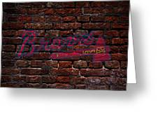 Braves Baseball Graffiti On Brick  Greeting Card