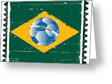 Brazil Flag Like Stamp In Grunge Style Greeting Card