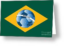 Brazil Flag With Ball Greeting Card