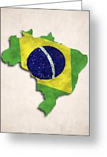 Brazil Map Art With Flag Design Greeting Card