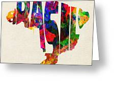 Brazil Typographic Watercolor Map Greeting Card