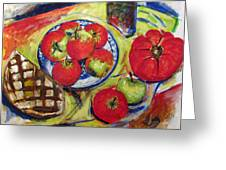 Bread Tomato And Apples Greeting Card by Vladimir Kezerashvili